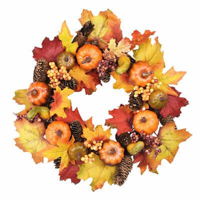 Fall Autumn Pumpkin Wreath Harvest Door Decoration Thanksgiving Halloween Decor - Wreath Halloween
