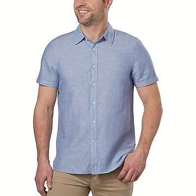 NEW! Perry Ellis Men's Linen Blend Short Sleeve Shirt, Blue Size - Perrys Blend