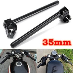 Motorcycle 7/8'' Handlebar Clip-On 35mm Fork Tube Black For Cafe Racer Universal