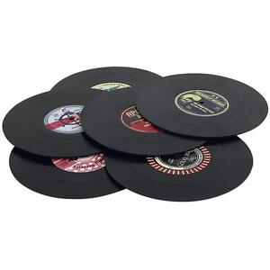 Retro Rockabilly Vinyl Record Coaster Rockin' Spinning Hat Set 6 Drinks Mats