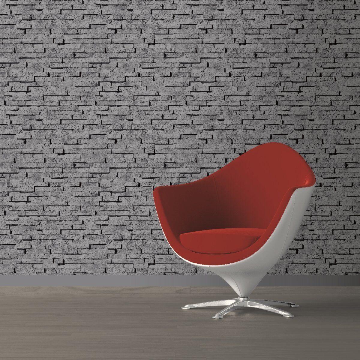 REALISTIC BLUFF GREY SLATE STONE WALL MURIVA DESIGNER VINYL WALLPAPER J27619