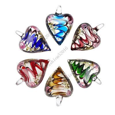Lampwork Glass Pendant Necklace - Wholesale Lots 6X Heart Flower Lampwork Glass Pendant Fit Necklace Wedding Gift