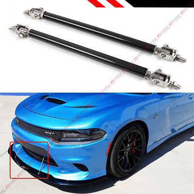 Track Splitters (Carbon Fiber Look Adjustable Front Bumper Lip Splitter Strut Rod Tie Support)