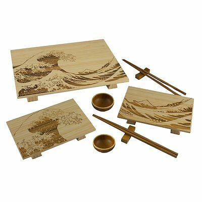 Totally Bamboo 9Pc Wave Sushi Serving Set   Light