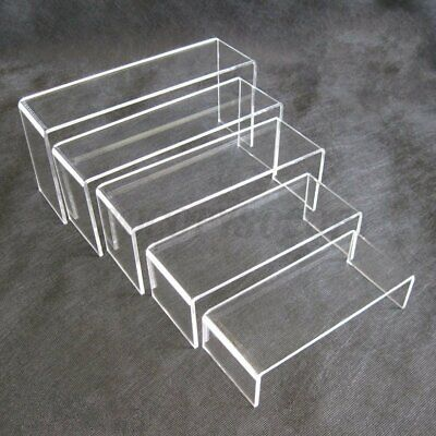 5pcs Set Clear Acrylic Perspex Jewelry Display Riser Stand Collectible Showcase