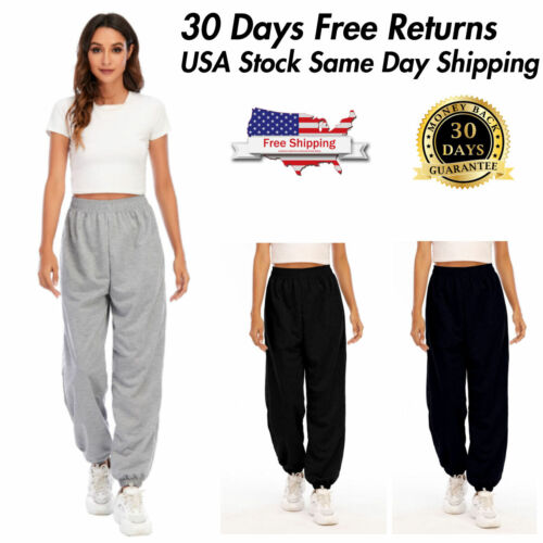 Womens Casual Relaxed Sweatpants Lightweight 2 Pockets Joggers Yoga Pants