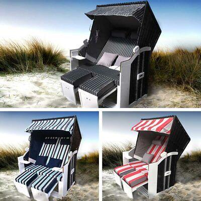 Strandkorb Sylt 2-Sitzer für 2 Personen Volllieger Gartenliege Poly-Rattan