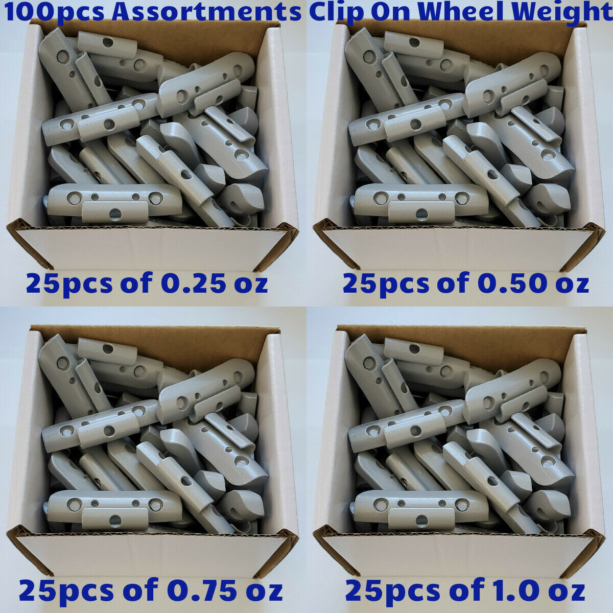 100 Pcs ASSORTMENT OCTOPUS Clip On Wheel Weight Balance P STYLE .25 .50 .75 1oz