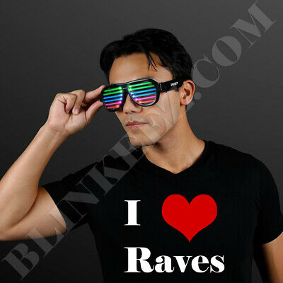 Rechargeable LED RAVE GLASSES with Sound Reactive Lights Party RAVE FUN~ - Sound Reactive Glasses