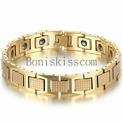 Men's Golf Link Bracelet Stainless Steel Magnetic Therapy Elements Gold Tone ()