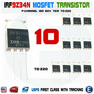 10pcs Irf9z34n Irf9z34 F9z34n Power Mosfet Transistor 60v 18a To-220
