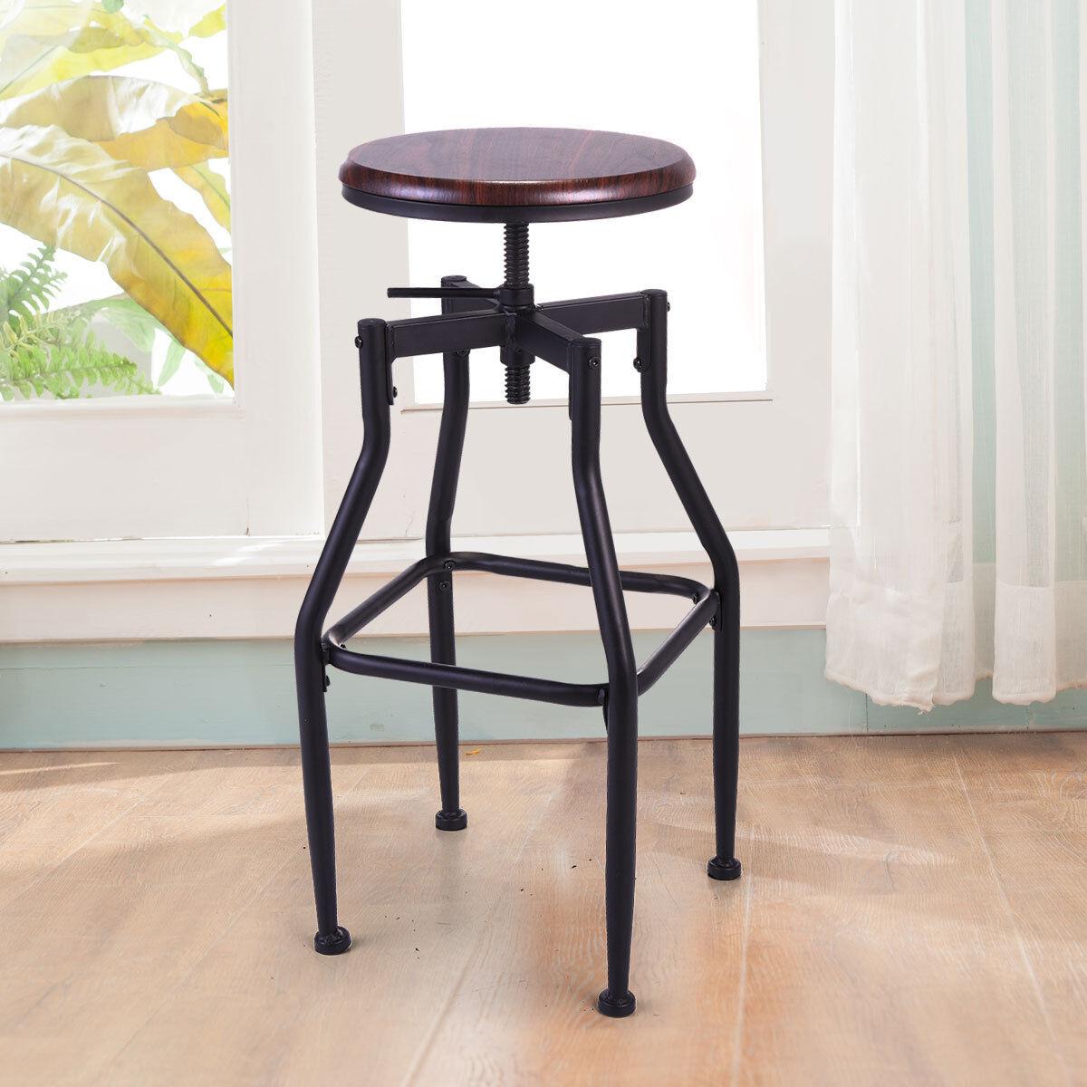 Enjoyable New Vintage Bar Stool Metal Design Wood Top Height Adjustable Swivel Industrial Ncnpc Chair Design For Home Ncnpcorg