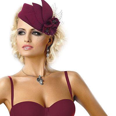 Wine Womens Fascinator Pillbox Wool Felt Hat Formal Dress Flower Veil A131