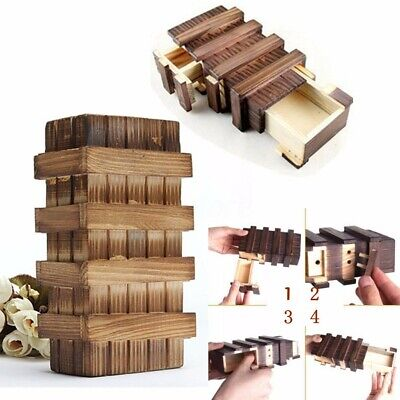 Chinese Vintage Classic Brain Magic Trick Puzzle Box Secret Wooden Drawer Toy US