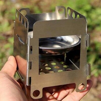 Stainless Steel Lightweight Folding Wood Stove Pocket Burning Outdoor Camping ()