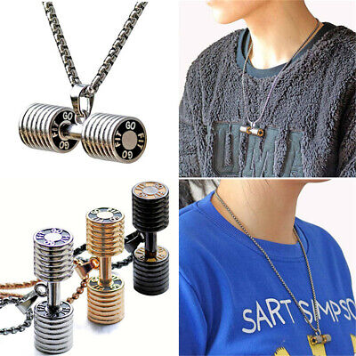 Stainless Steel Unisex Dumbbell Barbell Pendant Link Chain Necklace Jewelry US