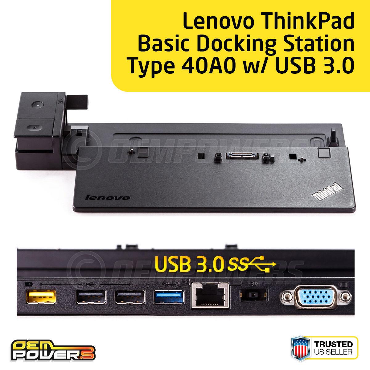 Lenovo ThinkPad Pro Dock Type 40A1 USB 3.0 Docking Station 04W3948 w// Keys NO AC
