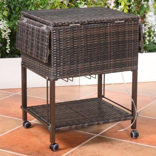Portable Rattan Rolling Cooler Cart Trolley Garden Outdoor P