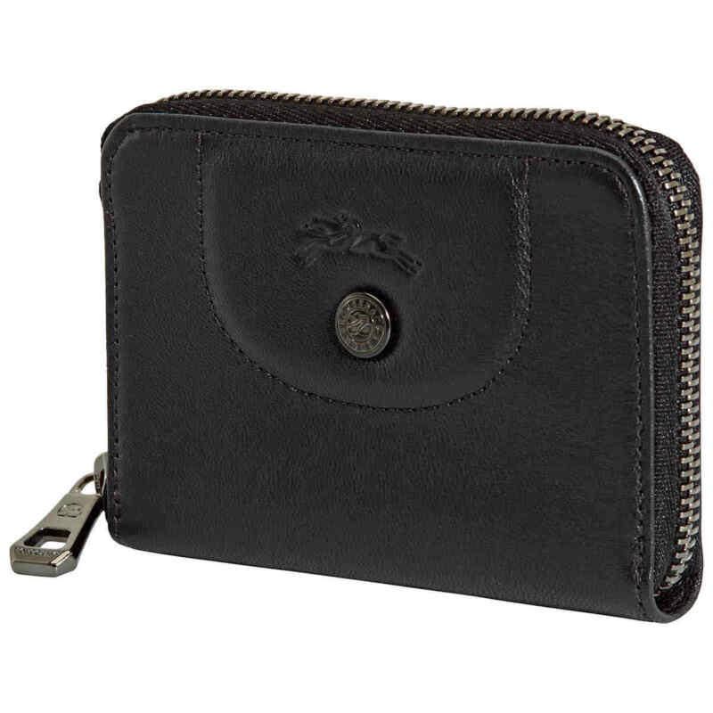 Longchamp Le Pliage Cuir Zipped Leather Card Holder In Black 30001-757-001