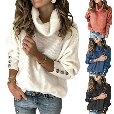 Womens Turtle Neck Sweater Knitted Jumper Pullover Ladies Baggy Winter Warm Tops