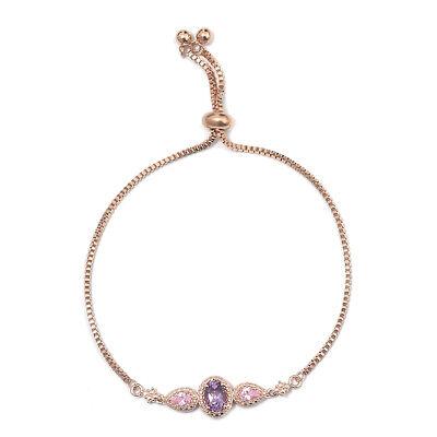 18K Rose Gold Amethyst Pink Cubic Zirconia CZ Bolo Tassel Bracelet for Women