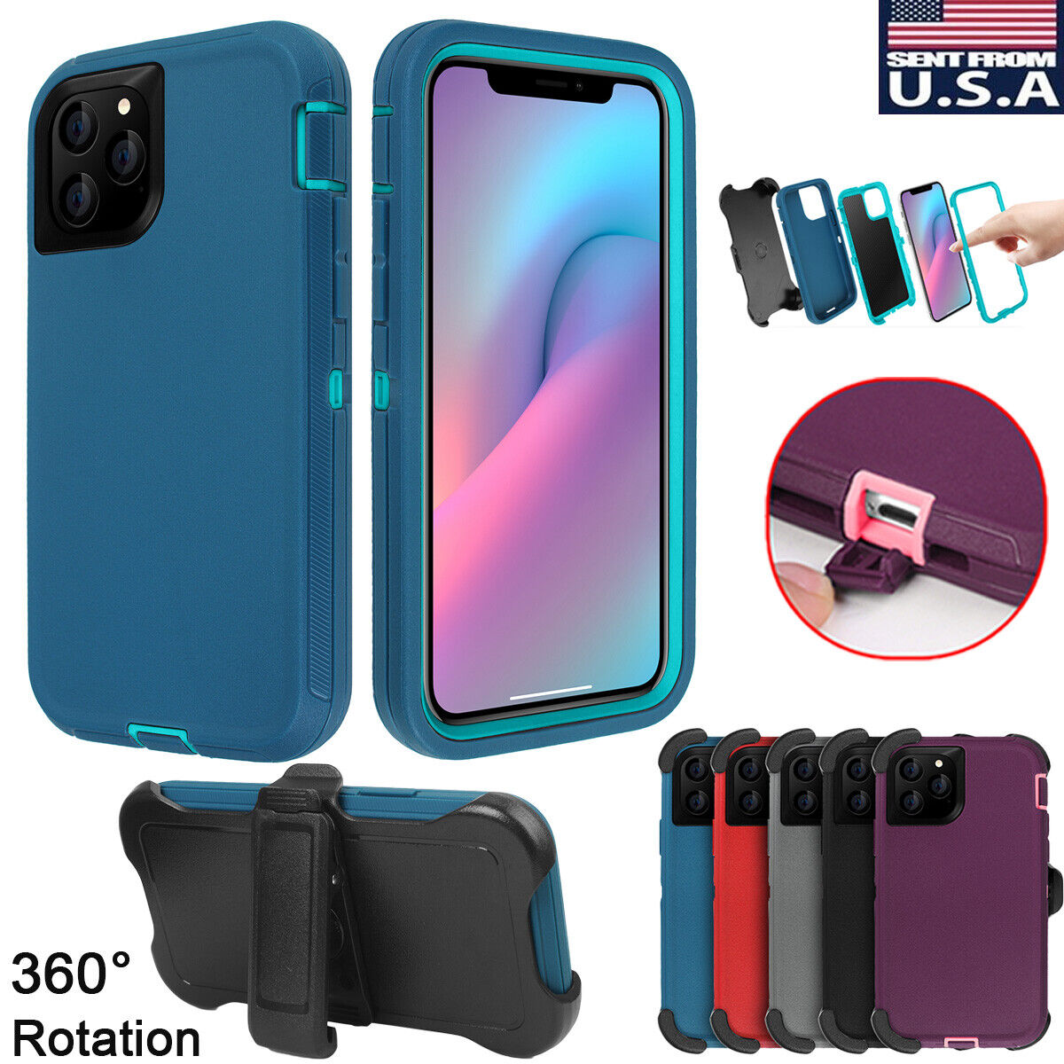 Armor Heavy Duty Shockproof Hard Case Cover w/ Belt Clip For