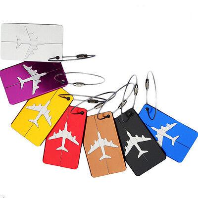 7pcs Air Plane Luggage Tag Baggage Handbag ID Tag Name Card Holder & Key Ring
