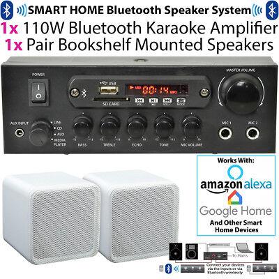 110W Bluetooth Amplifier & 2x 80W White Shelf Speakers–Compact Wireless HiFi Kit