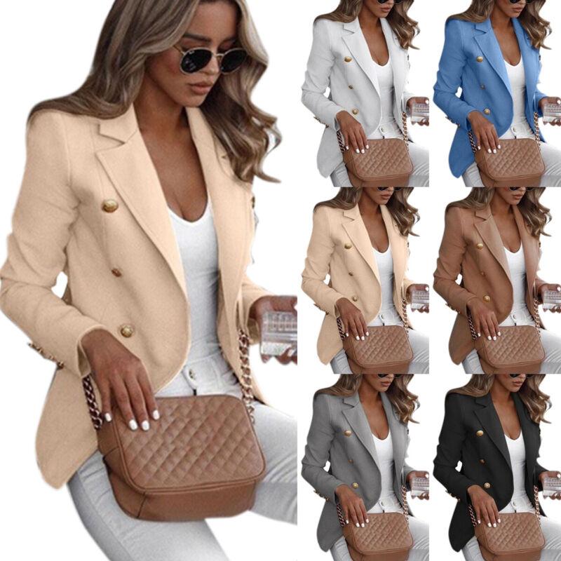 Übergröße Damen Blazer Sakko Jacken Business Anzug Jacke Tunika Mantel Outwear L