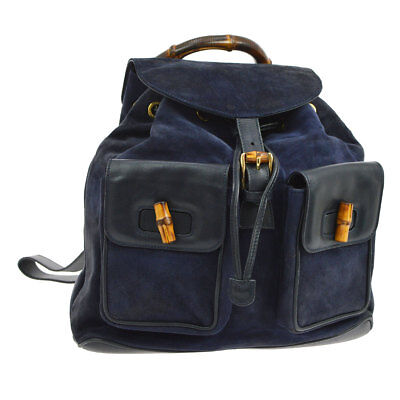 Auth GUCCI Bamboo Backpack Hand Bag Navy Nubuck Leather Italy Vintage S07988h