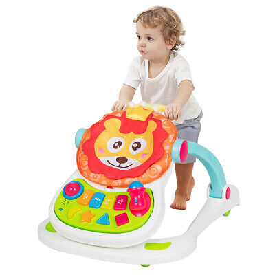 4-In-1 Baby Walker Sit to Stand Toddler Walker Activity Center w/ Music Light