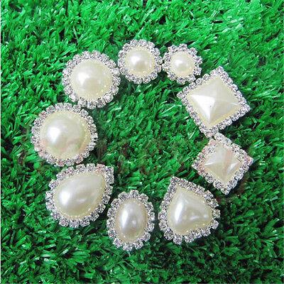 Diamond Rhinestone Crystal Pearl Wedding Embellishment Buttons Cluster DIY (Pearl Embellishments)