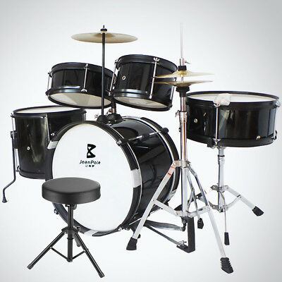 5 Piece Complete Adult Drum Set Cymbals Full Size Kit with Drum Stool Black