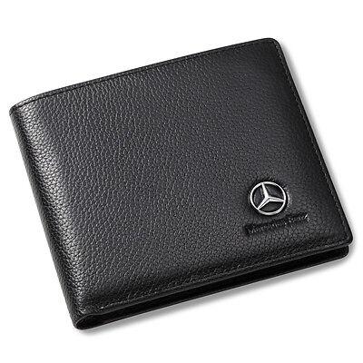 Mercedes Benz Bifold Wallet Black Genuine Leather With 6 Credit Card Holder Men
