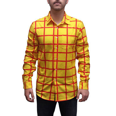 Woody Striped Shirt Toy Story Long Sleeve Costume Button Down Up Sheriff - Woody Kostüm Shirt