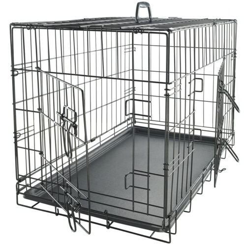 42 Dog Crate 2 Door wDivide wTray Fold Metal Pet Cage Kennel House for Animal