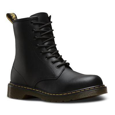 Martens 8 Eyelet (Dr.Martens Delaney 8-Eyelet Black Youth Softy T Ankle Boots)