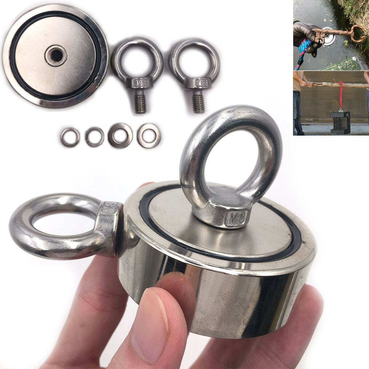 Hot Salvage Strong Recovery Magnet Neodymium Hook Treasure Hunting Fishing 200KG