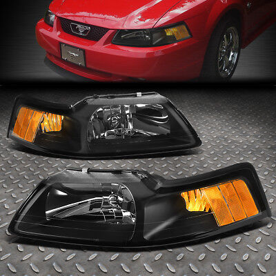 FOR 1999 2004 FORD MUSTANG PAIR BLACK HOUSING AMBER CORNER HEADLIGHTLAMP SET