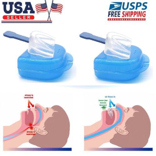 2 X Stop Snoring Mouthpiece Apnea Aid MouthGuard Sleep Bruxi