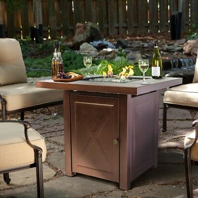 Outdoor Fire Pit Table Furniture Patio Deck Backyard Heater Fireplace LP Gas