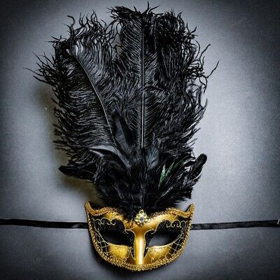 Venetian Gold Black Masquerade Mask Show Girl Ostrich Feather Eye Mask Costume - Black Feather Masquerade Mask