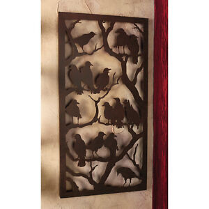 Mystical-Harbingers-of-Magic-Creation-Metal-Raven-Black-Wall-Sculpture-Panel