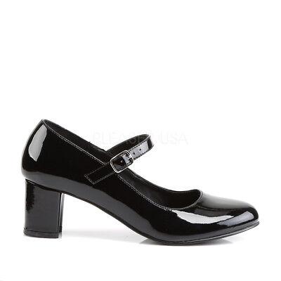Black Mary Janes Basic Costume Shoes 1950s Catholic School Girl Low Heels