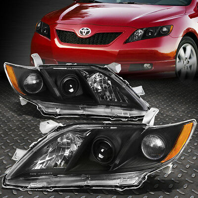 FOR 2007-2009 TOYOTA CAMRY BLACK HOUSING AMBER CORNER PROJECTOR HEADLIGHT/LAMP