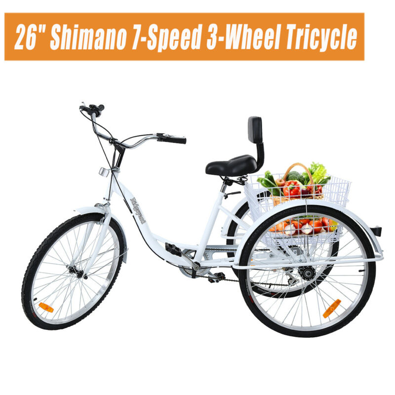 "Ridgeyard Adult 26"" 3-Wheel 7-Speed Tricycle Trike Bicycle Bike Cruise + Basket"