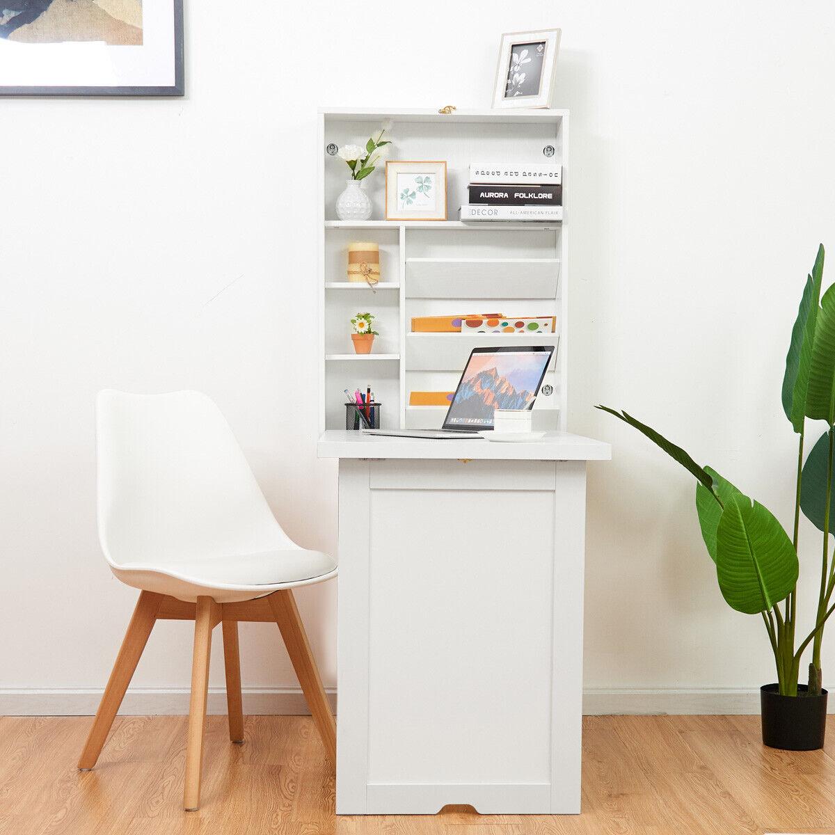 Wandtisch klappbar Wandklapptisch Holz  Computertisch Schreibtisch Esstisch Weiß