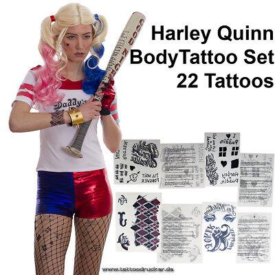 2 x Harley Quinn Tattoo Set temporär - 44 Tattoos - Karneval Fashing Cosplay (2)