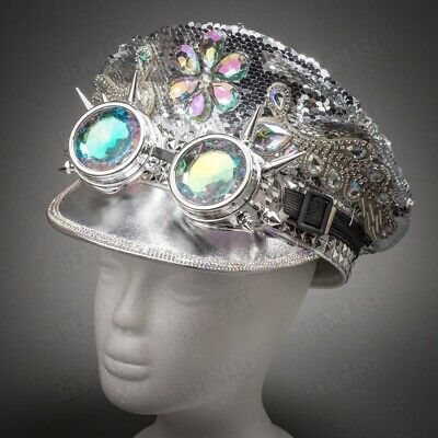 Silver Sequined Burning Man Top Hat Goggles Festival Costume for Party Men