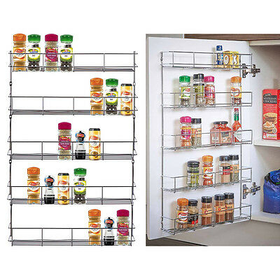 5 TIER SPICE HERB JAR RACK HOLDER FOR KITCHEN DOOR CUPBOARD & WALL STORAGE UNIT